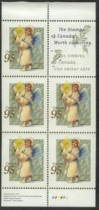 Canada - 1999 Christmas Angel w. Candle Pane VF-NH #1817a