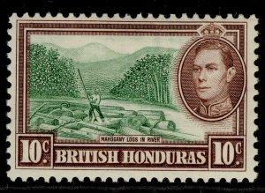 BRITISH HONDURAS GVI SG155, 10c green & reddish brown, M MINT.