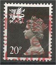 GREAT BRITAIN, WALES, Machins, 1989, used 20p brown black, Scott WMMH38