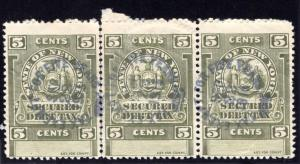 SRS NY SCD2, 1911 5c olive green, embossed cancels on all 3