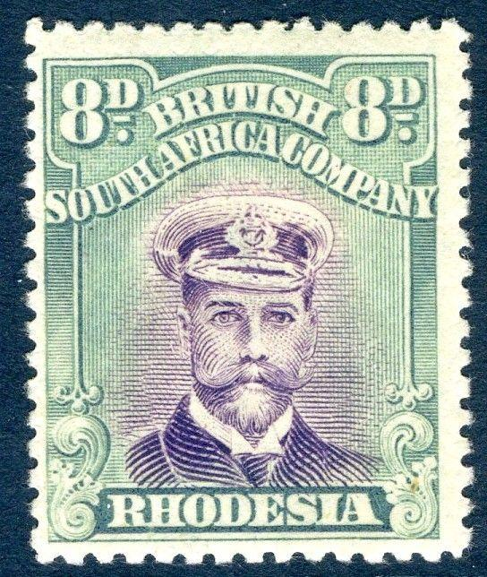 RHODESIA-1919 8d Mauve & Dull Blue-Green Sg 267 LIGHTLY MOUNTED MINT V18576