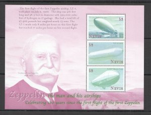 H0540 NEVIS TRANSPORT AVIATION ZEPPELIN THE MAN & HIS AIRSHIPS 1KB MNH