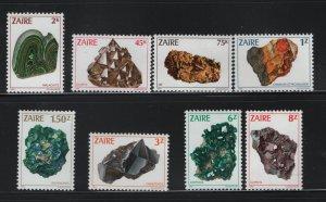 ZAIRE, 1102-1109, SET (8), MNH, 1983, MINERALS