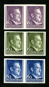 Germany Stamps XF OG NH Lot of 3 Imperforate Pairs