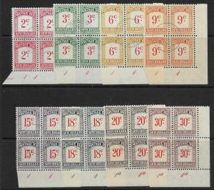 SEYCHELLES SGD1/8 1951 POSTAGE DUE SET IN FINE USED PLATE BLOCKS OF 4