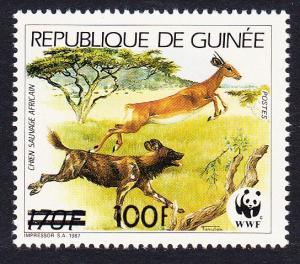 Guinea WWF African Wild Dog 1 stamp overprinted MI#1323 SC#1182f