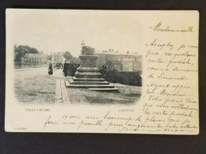 1902 Limerick Ireland to Saumur France Treaty Stone Real Picture Postcard Cover