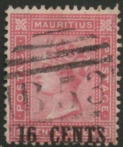 MAURITIUS-1883 16c on 17c Rose Sg 113 GOOD USED V38135