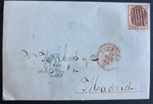 1855 Valencia Spain Letter Sheet cover To Madrid
