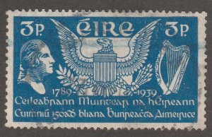 Ireland stamp, Scott#104, used, hinged, 3p, blue, #M974