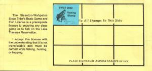 2002 USA Stamp #LT100 Sisseton-Wahpeton Sioux Tribe Game & Fish Hunting License