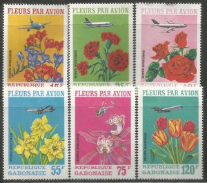 GABON  C109-C111  HINGED,  FLOWERS BY AIR