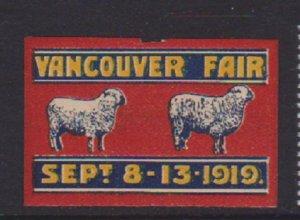 VANCOUVER FAIR 1919 CINDERELLA STAMP  . LOT#148