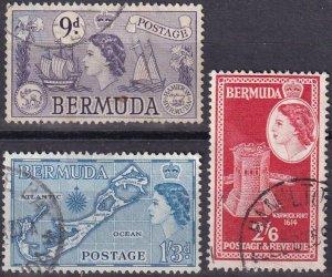 Bermuda #154, 157, 159  F-VF Used CV $4.30 (Z2482)