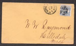 **US 19th Century Cover, SC# 114, Union Springs, NY CDS + FC, No Contents