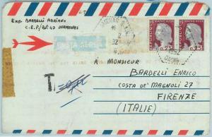 67639 - ALGERIA - Postal History - AEROGRAMME to ITALY Taxed in AMENAS SAS 1962