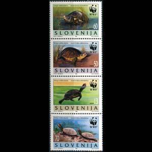 Slovenia MNH Strip 247 WWF Reptiles Turtles 1996