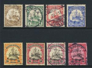 GERMAN EAST AFRICA 1905-18 SET TO 60h, VF USED Sc#31-8 CAT$294(SEE BELOW)