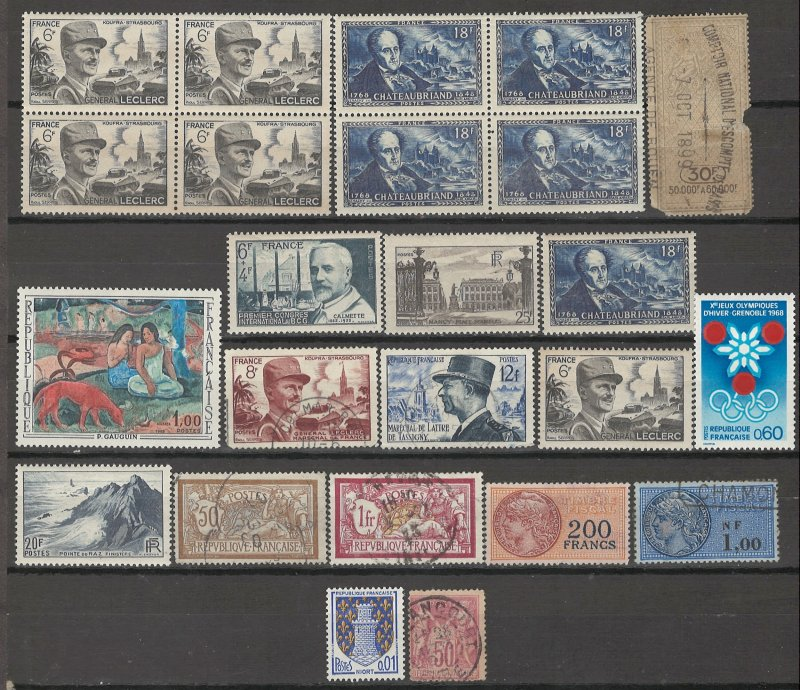 COLLECTION LOT # 4099 FRANCE 15 STAMPS + 2 BLOCKS OF 4 1890+ CV+$17.50