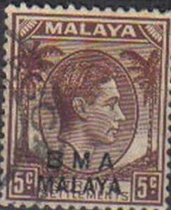 MALAYA, 1945, used 5c, Straits Settlements stamps optd B M A MALAYA.