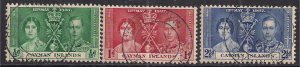 Cayman Islands 1937 KGV1 Set Coronation used SG 112 – 114 ( D1301 )