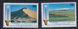 United Nations - New York # 588-589, Namibian Independence, NH, Half Cat