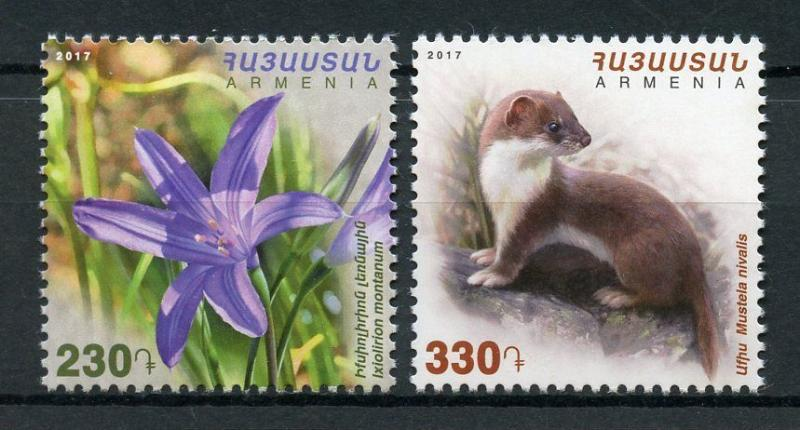 Armenia 2017 MNH Flora & Fauna Least Weasel 2v Set Flowers Wild Animals Stamps