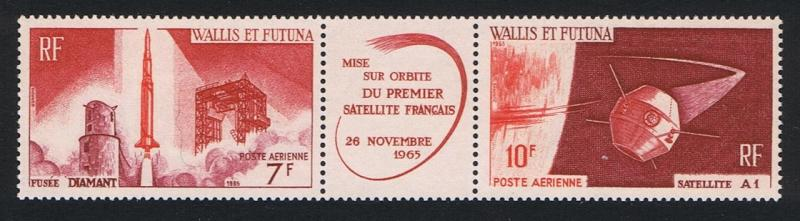 Wallis and Futuna Launching of 1st French Satellite strip of 2v+label F1