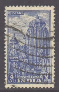 India Scott 236- SG333c, 1950 Temples 4a used