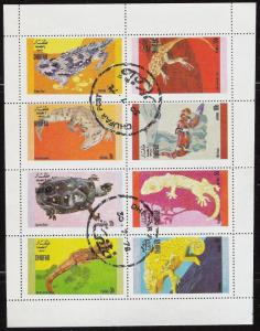 Dhufar (State of Oman) sheet of 8 Reptile Stamps, lizard CTO Trucial State bogus
