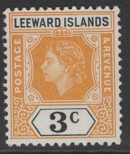 LEEWARD ISLANDS SG129 1954 3c YELLOW-ORANGE & BLACK MNH