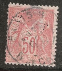 FRANCE Scott 101 Used 1890 Peace & Commerce perfin CV$ 3.25