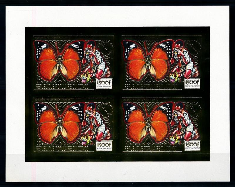 [75555] Congo Brazzaville 1991 Scouting Butterflies Gold Foil Imperf. Sheet MNH