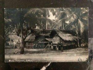 1936 Penang Malaya RPPC Postcard Cover To Pasadena Ca Usa Malay Kampongs