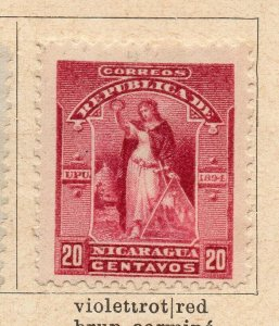 Nicaragua 1894 Early Issue Fine Mint Hinged 20c. NW-08020