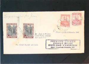 Belgian Congo 1941 First Flight to Puerto Rico - Z2942
