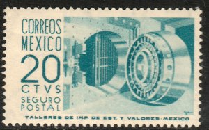 MEXICO G15, 20¢ 1950 DEFINITIVE, 2nd PTG INSURED LETTER, wmk 300. MINT, NH. VF.
