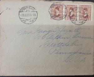 O) 1929 EGYPT, KING FUAD, SCT 194 5m chestnut, PORT SAIR CANCELLATION, CIRCUL...