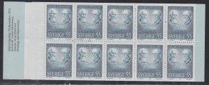 Sweden #882a, Nobel Prize Winners,  Complete Booklet, NH, 1/2 Cat.