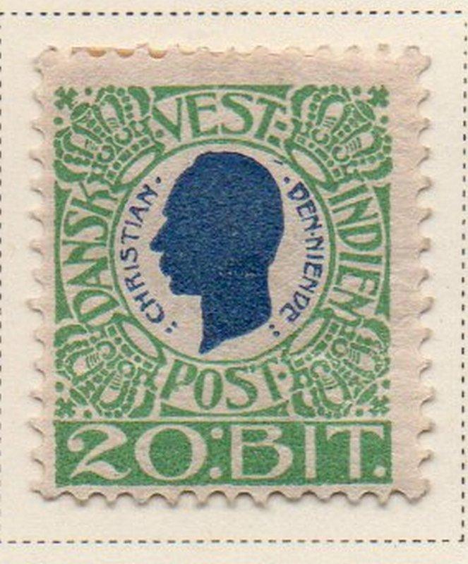 Danish West Indies Sc 33 1905 20 bit green & blue Christian IX stamp mint