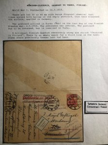 1918 Munich Germany Censored Chemical Test Reply Postcard Cover To Turk Finland