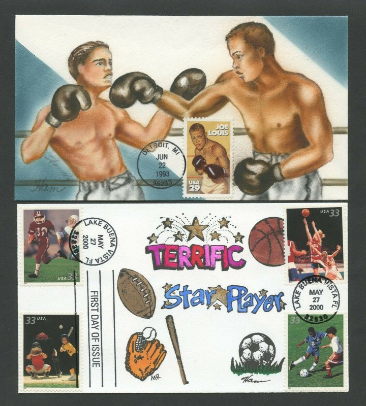 #2766, 3399-3402 ON HAM HANDPAINTED FDC CACHETS (2) DIFF SPORTS BV1127