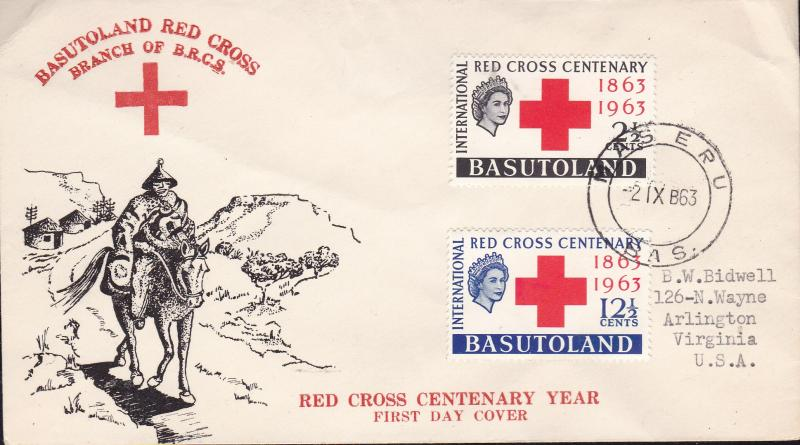 Basutoland 1963 Red Cross Centenary FDC Typed Address Cachet VF