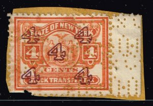 US STAMP REVENUE STATE OF NEW YORK STOCK TRANSFER  TAX PAID STAMP ORANGE