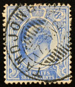 Malaya Straits Settlements KE VII 8c MCCA Dutch Indies TANDJONG PRIOK SG#158