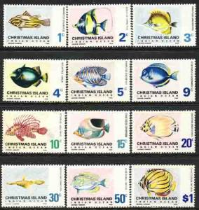 Christmas Island 1968-70 Sc 22-33 Indian Ocean Fish Stamp MH