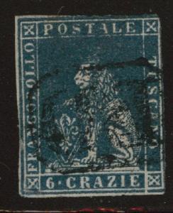 Tuscany Scott 15 deep blue used 1857 wmk 184  CV$375
