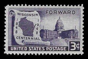 PCBstamps       US # 957 3c Wisconsin Statehood, 1948, MNH, (6)