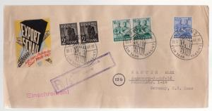 1948 Augsburg Germany Displaced Person Camp Registered Cover DP Local Issues