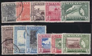 1957 Malaya Malacca 1c - $5 QEII Definitves, set of 11, SG 39-49, used